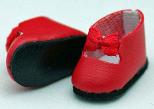 エレガント・メリージェーン・シューズ、レッド (ジニー用) 741 Classica Storap Bow Red